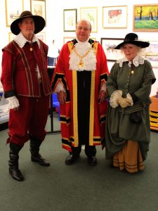 Town Mayor, Cllr. David Marren with Colin Bisset and Brenda Rampling of The Sealed Knot at the opening of the CCWC, Nantwich Museum.
