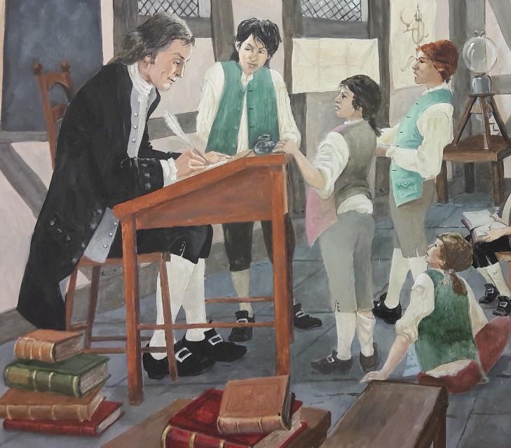 Picture by Nantwich Museum Artist Les pickford of Joseph Priestley's school in Nantwich