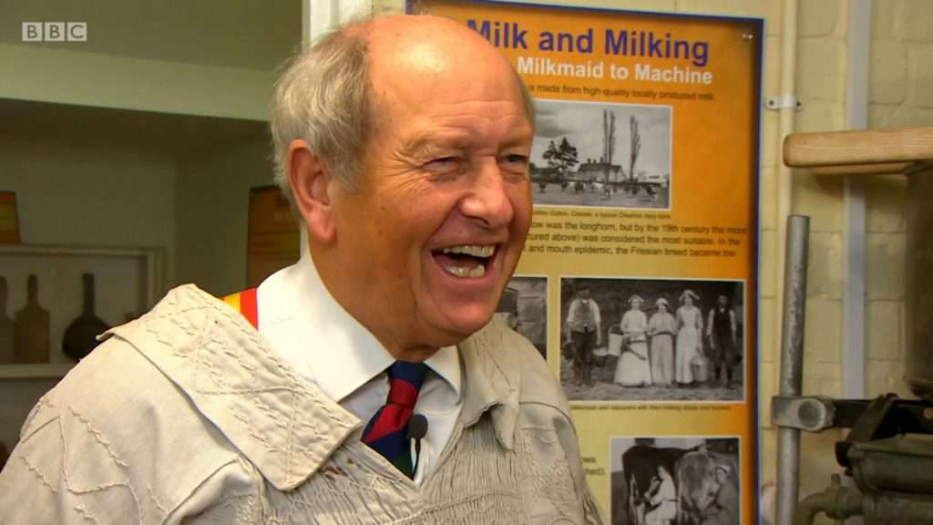 Bargain Hunt's Charlie Ross enjoys a chat with Andrew Lamberton in the Cheese Room at Nantwich Museum