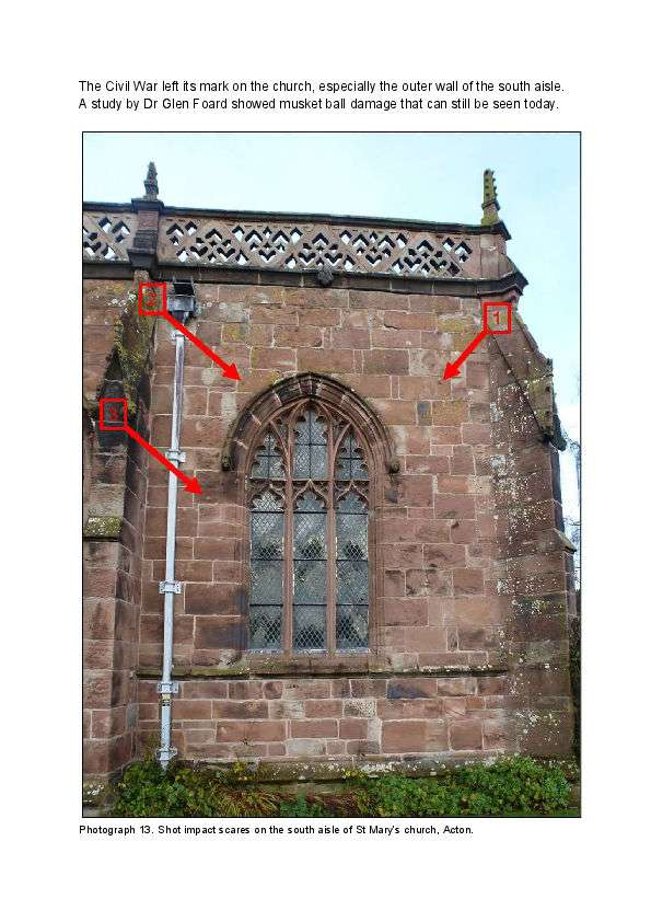 Spotting musket ball damage on Acton Church during Battle of Nantwich in the English Civil War
