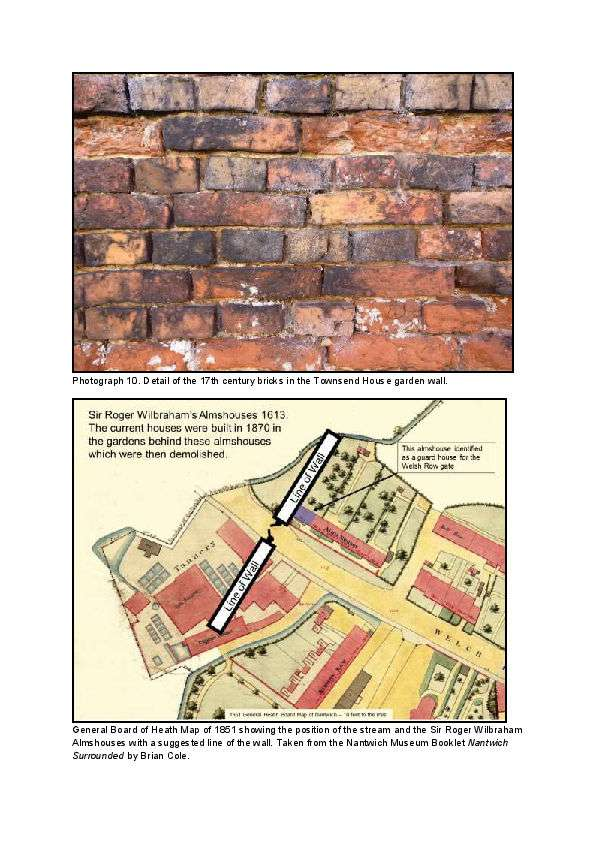 Reuse of bricks from garrison wall at Townsend House, Nantwich after English Civil War