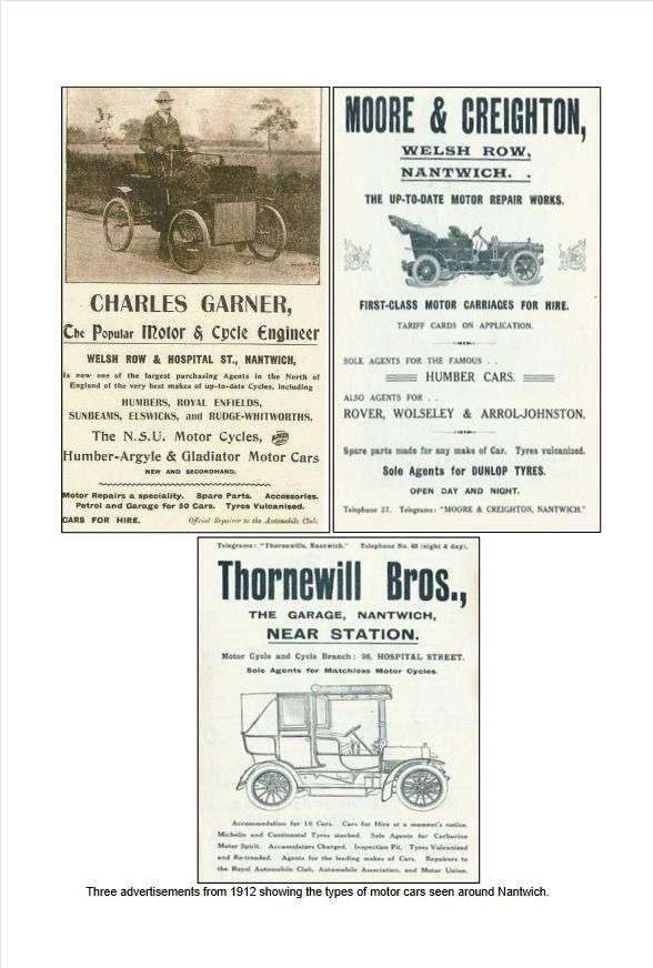Charles Garner, Moore & Creighton Thornewill Bros Nantwich Garage Adverts