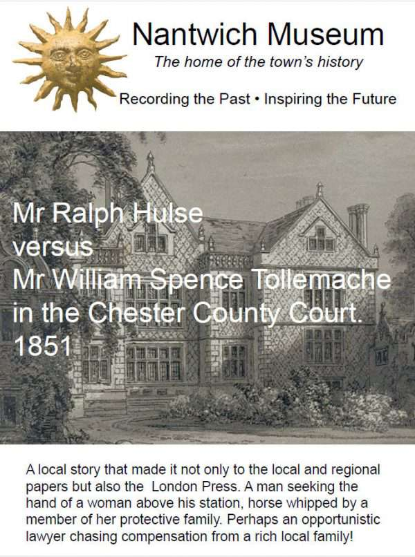 Cover to Mr Ralph Hulse versus Mr William Spence Tollemache in the Chester County Court 1851 booklet